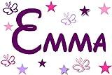 Wandtattoo Kinderzimmer Wandschnörkel® 2810 Namen Mix ++Aufkleber mit dem Namen Ihrer Kindes++ Geschenk.Türschild + 11 teilig Sterne und Schmetterlinge Jungen Mädchen