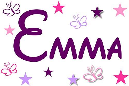 Wandtattoo Kinderzimmer Wandschnörkel® 2810 Namen Mix ++Aufkleber mit dem Namen Ihrer Kindes++ Geschenk.Türschild + 11 teilig Sterne und Schmetterlinge Jungen Mädchen (Mädchen-namen-aufkleber)