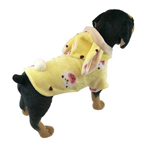 Muster Flanell-pyjama (QDOUPET Hunde-Pyjama aus weichem Flanell mit Kapuze, für kleine Hunde)