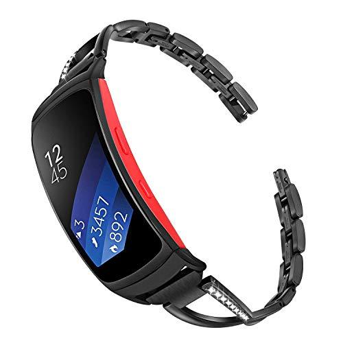 TRUMiRR Ersatz für Gear Fit2 Pro/Gear Fit 2 Armband, Schmuck Edelstahl Metall Uhrenarmband Strass Diamant Armband Manschetten Ersatzband für Samsung Gear Fit 2 SM-R360 / Fit 2 Pro SM-R365 Smartwatch