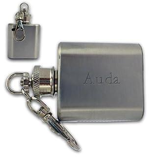 SHOPZEUS gravierte Flasche Schlüsselanhänger mit dem Aufschrift Auda (Vorname/Zuname/Spitzname)