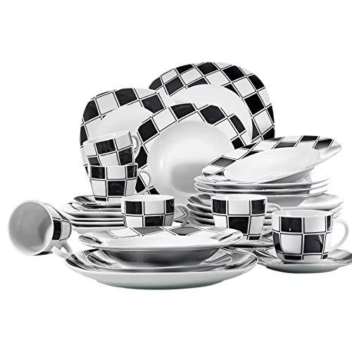 Veweet NICOLE 30pcs Service de Table Porcelaine 6pcs Assiette Plate / Assiette à Dessert / Assiette Creuse / Tasse avec Soucoupes pour 6 Personnes Vaisselles Céramique Design Carreaux Noir