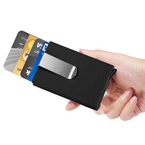 ManChDa Männer Schwarz RFID Kreditkarte Halter Automatisch Pop-up Aluminium Blockieren Hartschalenkoffer Geschäft Schlank Mini Brieftasche (Credit Card Holder Schlank)