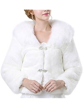 iBaste Corto Abrigos Pelo Sintético Mujer Blanco Chaqueta Faux Fur para Invierno Abrigo de Fiesta / Cena