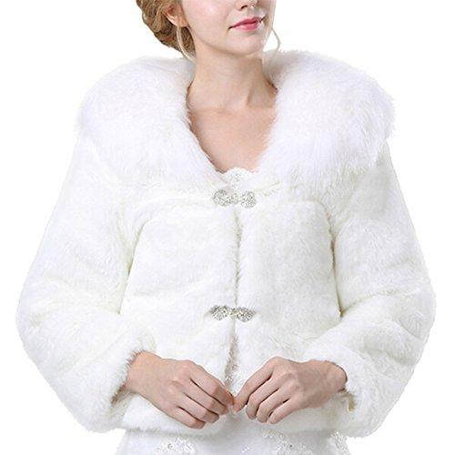 iBaste Damen Warme modern Herbst Winter weiß Flauschiges Nachahmung Jacke mit Pelzkragen Filz Pelz...