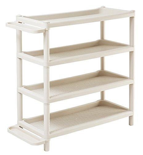 Orolay Modernes Plastik Ecke Regal Standregal mit 4 Böden Adjustable Boots Storage Organiser...