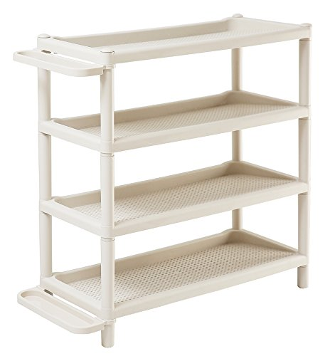tik Ecke Regal Standregal mit 4 Böden Adjustable Boots Storage Organiser Stackable Shoe Rack Plastic Organiser (Weiß) ()