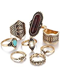 ELECTROPRIME Hot 8Pcs/Set Women Punk Vintage Knuckle Midi Rings Tribal Ethnic Hippie Stone Joint Ring Jewelry...