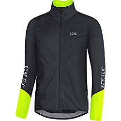 GORE Wear, Hombre, Chaqueta impermeable para ciclismo, GORE C5 GORE-TEX Active Jacket, Talla: L, Color: Negro/Amarillo neón, 100193