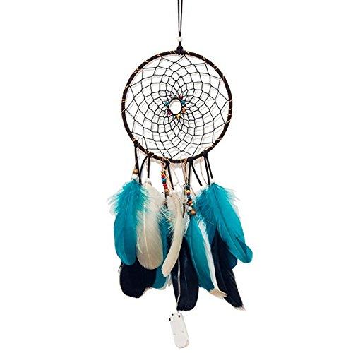 Ndier Dream Catcher Plumas, de Atrapasueños DIY Guirnalda de luz lámpara Colgante Decorativo para Pared de casa, Azul