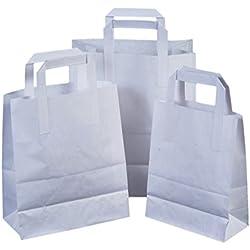 Pack de 25 bolsas blancas de papel con asas de color blanco. 100% orgánicas