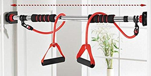 Barre de traction pour porte avec extenseurs (élastiques) reglable de 72 a 98 cm