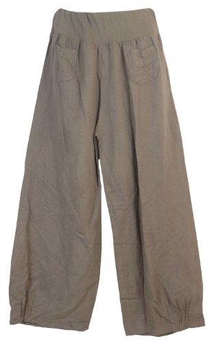 Damen Hose / Leinenhose aus luftigem angenehm zu tragendem Leinen, bequemer Schnitt, Gummibund, 2 aufgesetzte Taschen vorne, Größen M - 3XL, Made in Italy Taupe