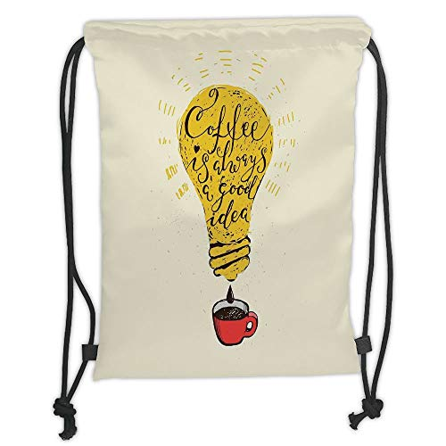 LULUZXOA Gym Bag Printed Drawstring Sack Backpacks Bags,Quote,Coffee is Always A Good Idea Quote in Tool Dripping to Mug Image Fun Artwork,Yellow Red Brown Soft Satin,