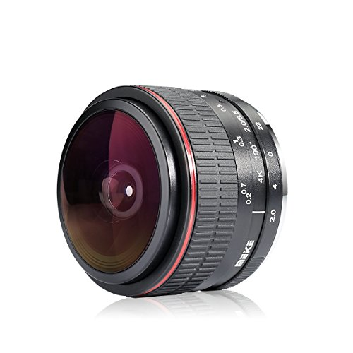 Meike Optics MK Objectif Ultra Grand Angle 6.5mm f2.0 fisheye pour Canon EF M