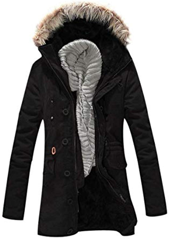 Elodiey Uomo Winter Parka con Inner Pelliccia Imitazione Inner con Fleece  Hooded Warmer Giacche Giovane Lunghe Parka Spessa... 6c7afa 1bf80084f1c