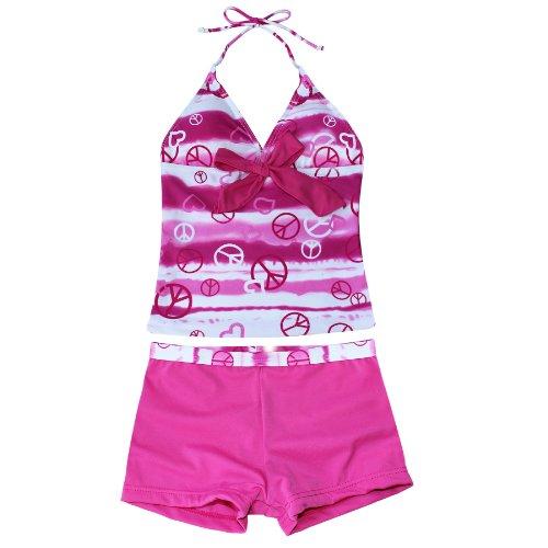 iEFiEL Mädchen Bademode Tankini Bikini Badeanzug Schwimmanzug Gr. 128 140 152 164 176 (158-164, Dunkel Rosa) (Dots Tie-dye)