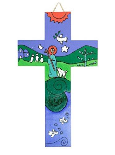 Croix pour les enfants 'Le bon pasteur' bleu