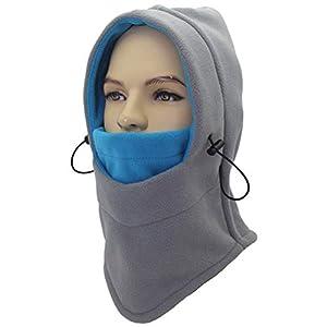 Peahop Nackenwärmer Gesichtsmaske, Fleece Ear-Flap Winter Hood Winddichte warme Gesichtsmaske für Outdoor-Sportarten Unisex (Grau)
