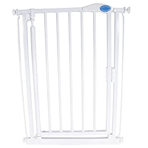 Bettacare Extra Narrow Stair Gate (61 to 66.5 cm) Bettacare Adjusts to fit openings from 72cm - 79cm Screw fit wooden gate in 5 colours; White, Natural, Grey, Black and Azure Blue One handed operation. Opens in both directions 3
