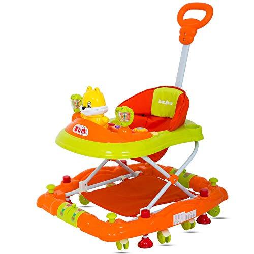 GoodLuck Baybee 3 in 1 Baby Walker Cum Rocker, Stopper with Music and Adjustable Height (Orange)