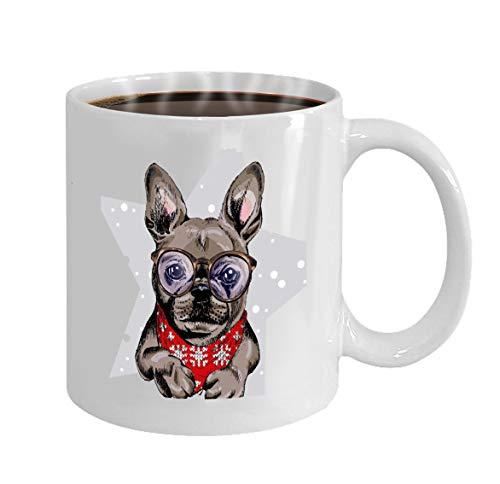 French White-tee (Personalized Gift Birthday, Anniversary, Customized Celebrating Gift White Tee Cup 11oz portrait french bulldog dog wearing winter bandana)