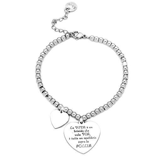 Beloved bracciale da donna, braccialetto in acciaio emozionale - frasi, pensieri, parole con charms - ciondolo pendente - misura regolabile - incisione - argento (mod 19)