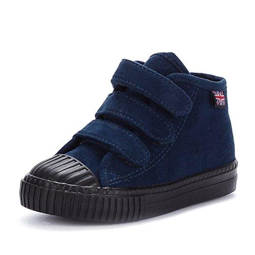 Unisex Kinder Herbst Winter Warme Runde Zehen Gummi Zehen Schnellverschluss Canvas Bequeme Einfache Tägliche Sneakers Blau