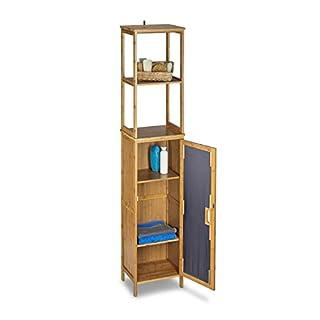 Relaxdays Badregal Bambus mit 5 Ablagen, Standregal mit Schranktür HxBxT: 170 x 33,5 x 28 cm, Badschrank stehend, natur