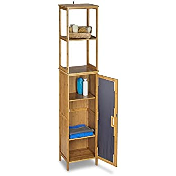 Tall Bathroom Storage Cabinet Bamboo: Amazon.co.uk: Kitchen & Home | {Badschrank bambus 55}