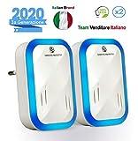 AmbienteProtetto Antizanzare Repellente ad Ultrasuoni per Topi Insetti Professionale di 3ª Generazione | Repellente Anti Zanzare Topi Formiche Mosche Scarafaggi | 100% Eco-Friendly - 2020 [Pacco da 2]