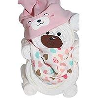Windelgeschenk / Windeltorte / Windelbär mit Beanie + Dreieckstuch Mädchen Baby -> Windelgeschenk Mädchen -> Niedliche Baby Kleinkind Kinder Hut Kappe Mütze + Schal Warp Set für 0-2 Jahre -> tolles WINDELGESCHENK zur Geburt -> Geschenk zur Geburt -> babyshower geschenk (rosa Gr. 2)
