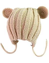 Exing Bonnet Beanie pour bébé Chapeau d hiver bébé Nouveau-né Crochet Cute  Bear dc17fbb4ec5