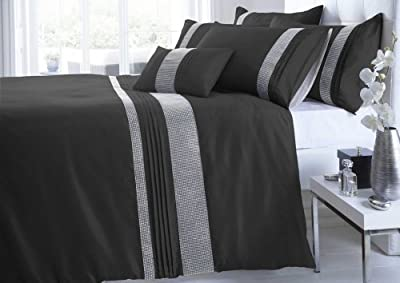 Kimberley Black & Silver Diamante Duvet Cover Set - inexpensive UK light shop.