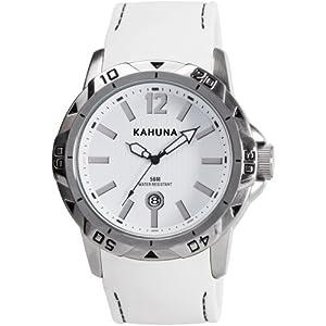 Kahuna KUS-0061G – Reloj analógico de Cuarzo para Hombre, Correa de Silicona Color Blanco