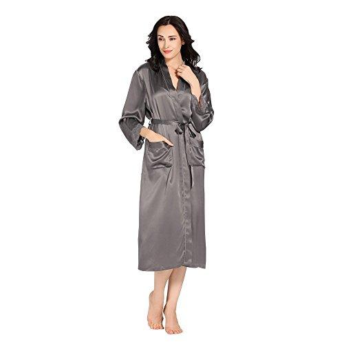 LILYSILK Robe De Chambre en Soie Peignoir à Manches Longue Chemise de nuit Femme Style Kimono 22 Momme Gris Foncé