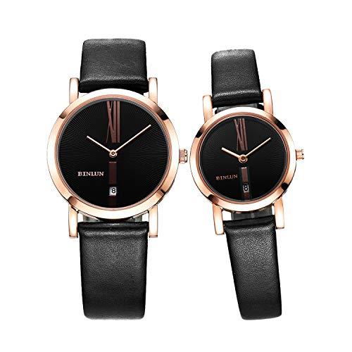 BINLUN Unisex Paar Uhren Analog Japanisches Quarzwerk mit Schwarz Leder Armband BL0052C-LRBB