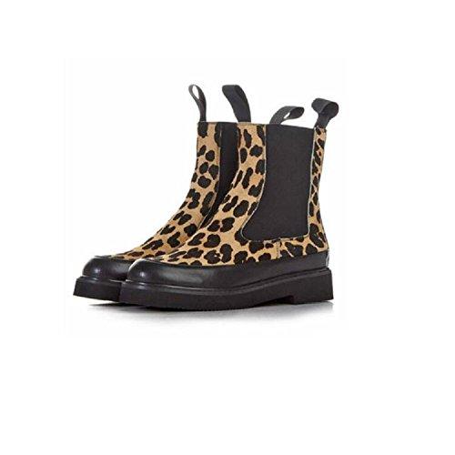 YYH Martin bottes léopard rond manche plat chaussures féminines et bottillons en molleton