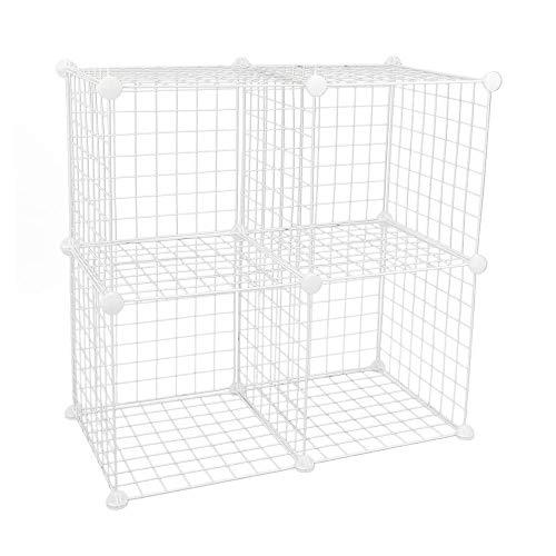PrimeMatik - Armario Organizador Modular Estanterías de 4 Cubos de 35x35cm Metal Blanco