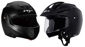 Vega Crux Half Face Helmet (Black, M) & Crux Flip-up Helmet (Black, L) Combo