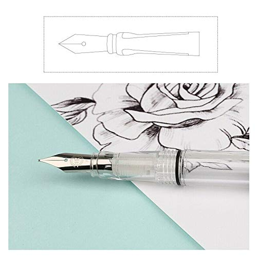 ZHONGLI Negative Pressure Fountain Pen MIANMIAN 494 Resin Transparent Pen Body Quality EF//F Nib for Wrting /& Correction Calligraphy Pen