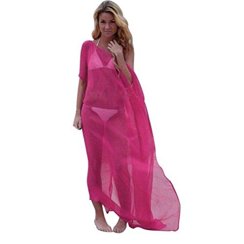 Ba Zha Hei Frauen Bikini vertuschen O-Ausschnitt Locker Zum Knöchel Einfarbiger Casual-Bereich Beach Kleid Elegant Lang Seide Kurzarm Badeanzug Bademode Strand Shirt Kleid Badeanzug (Hot Pink, L) (Vertuschen Bandeau)