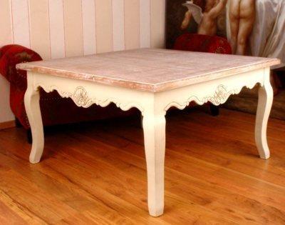 Couchtisch, Wohnzimmertisch, Tischchen, Tisch, Holztisch im Landhausstil, Optik im Vintage- oder Shabby-Chic-Stil - Palazzo Exclusive