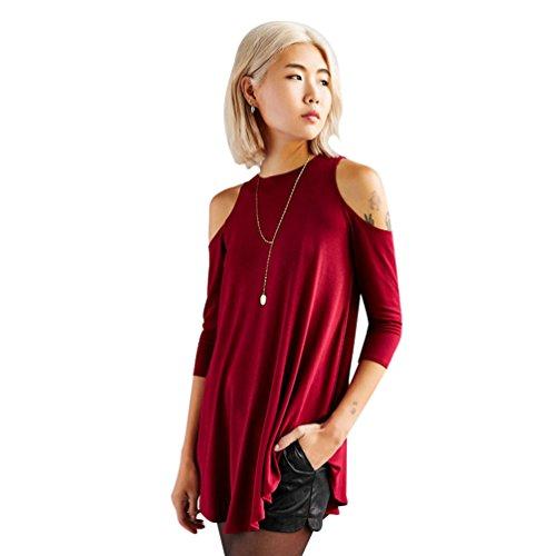 YAANCUN Femme Style College Bretelles Longue Section T-shirt à Manches Longues Rouge