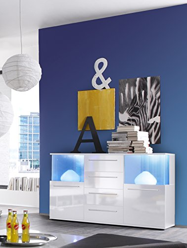 trendteam Sideboard weiss Glanz, inkl. Beleuchung, Farbwechsellicht 141,6 x 40,2 x 82 cm - 3