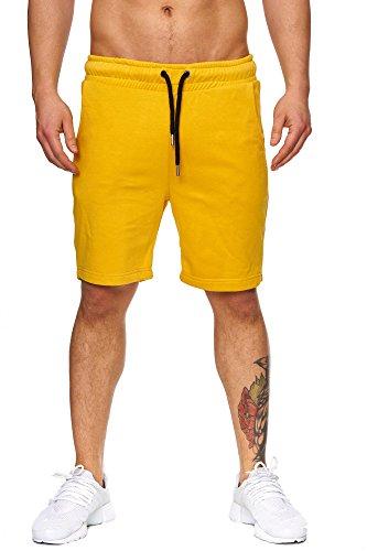 TAZZIO Herren Sweatshort Jogginghose Fitnesshose Traininghose Sweatpants Sporthose Freizeithose 17600 Mustard-Yellow