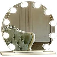 Spiegelleuchte Hollywood Stil, Tomshine 10 LED Spiegelleuchte für Schminkspiegel, Make Up Licht, Kaltweiß Schminktisch Lampe Beleuchtung mit 7000K, USB-Netzteil, 5 Dimmbare Helligkeiten (Spiegel nicht erhaltend)