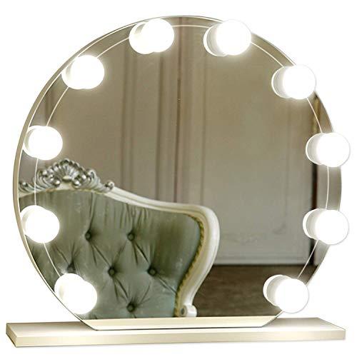 LED Spiegelleuchte, 10 LED Schminklicht für Spiegel, Make Up Hollywood Licht, Tomshine Kaltweiß Schminktisch Beleuchtung mit 7000K, Spiegellampe, 5 Dimmbare Helligkeit, Spiegel nicht erhalten