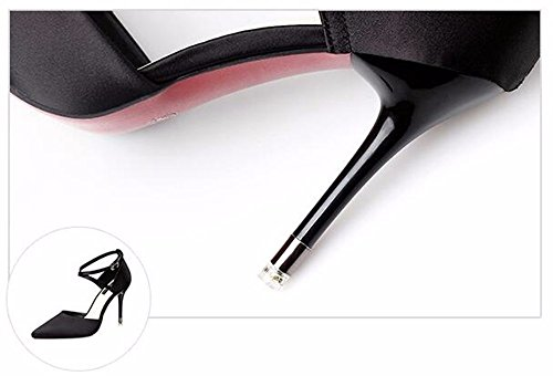 FLYRCX Europeo trendy ed elegante alla moda di raso elegante signore sexy tacchi alti scarpe di partito E