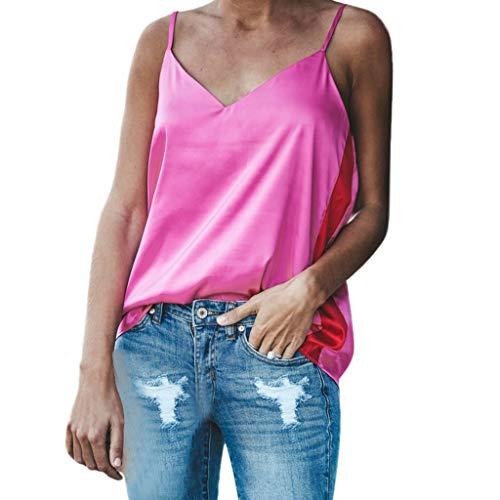 Mode Damen Solide Sexy V-Ausschnitt Lose Backless Sling Crop Camis Riemen Tank Top, Volltonfarbe Leibchen Zurück öffnen